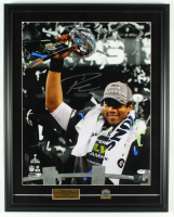 Russell Wilson Signed Seahawks 20x25 Custom Framed Photo Display with Super Bowl XLVIII Pin (PSA COA & Wilson Hologram) at PristineAuction.com