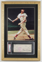 Ted Williams Signed Red Sox 14x21 Custom Framed 1975 Original Personal Bank Check Display (PSA Encapsulated) at PristineAuction.com
