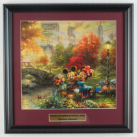 "Thomas Kinkade Walt Disney's ""Mickey & Minnie in Central Park"" 16x16 Custom Framed Print Display at PristineAuction.com"