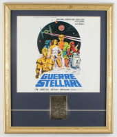 """1977 """"Guerre Stellari"""" (Star Wars) 16x19 Custom Framed Italian Movie Poster Display with 23kt Gold Movie Card at PristineAuction.com"""