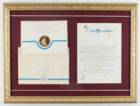Vintage Disney World 15x20 Custom Framed VIP Grand Opening Original Letter Display with Original Envelope at PristineAuction.com