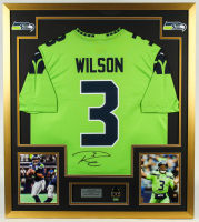 Russell Wilson Signed Seahawks 32x36 Custom Framed Jersey with Super Bowl XLVIII Champions Pin (PSA COA & Wilson Hologram) at PristineAuction.com