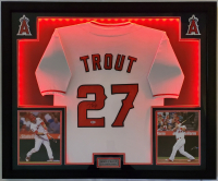 Mike Trout Signed 32x41 Custom Framed Jersey Display with LED Lights (Beckett Hologram) at PristineAuction.com
