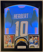 Justin Herbert Signed 32x41 Custom Framed Jersey Display with LED Lights (Beckett COA) at PristineAuction.com