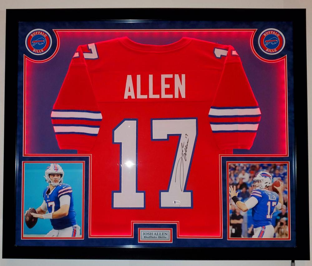 Josh Allen Signed 32x41 Custom Framed Jersey Display with LED ...