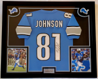 Calvin Johnson Signed 32x41 Custom Framed Jersey Display (JSA COA) at PristineAuction.com