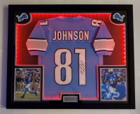 Calvin Johnson Signed 32x41 Custom Framed Jersey Display with LED Lights (JSA COA) at PristineAuction.com