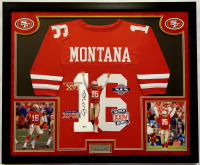 Joe Montana Signed 32x41 Custom Framed Jersey Display (Beckett COA) at PristineAuction.com