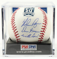 """Nolan Ryan Signed OML Astros 50th Anniversary Logo Baseball Inscribed """"Don't Mess With Texas!"""" with Display Case (PSA COA - Graded 10) at PristineAuction.com"""