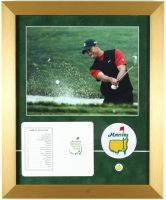 Tiger Woods Augusta National Golf Club 14x17 Custom Framed Photo Display with a Masters Patch and Official Scorecard at PristineAuction.com