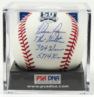 Nolan Ryan Signed OML Astros 50th Anniversary Logo Baseball with (3) Career Stat Inscriptions with Display Case (PSA COA - Graded 10) at PristineAuction.com