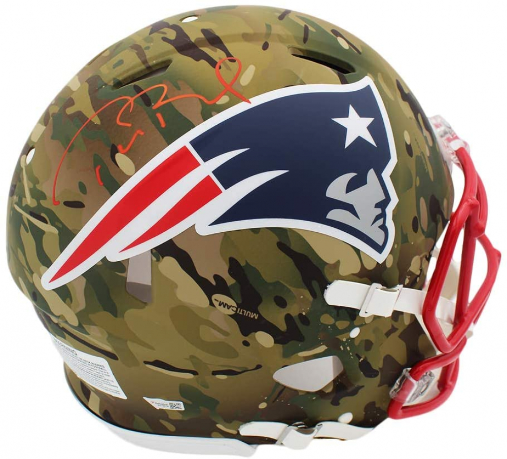 Tom Brady Signed Patriots Full-Size Authentic On-Field Camo Alternate Speed Helmet (Fanatics Hologram) at PristineAuction.com
