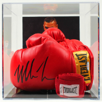 Pair of (2) Mike Tyson Signed Everlast Boxing Gloves With Display Case & Hand Wrap (PSA COA) at PristineAuction.com