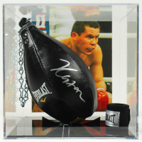 Julio Cesar Chavez Signed Leather Everlast Speed Bag with Display Case & Hand Wrap (Beckett COA) at PristineAuction.com