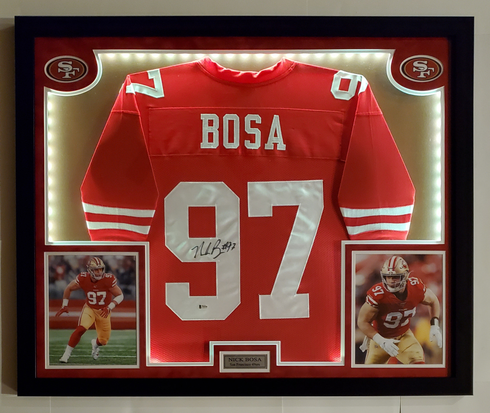 Nick Bosa Signed 32x41 Custom Framed Jersey Display With