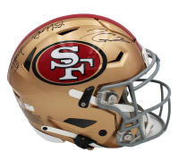 Joe Montana, Steve Young, & Jimmy Garappolo Signed 49ers Full-Size Authentic On-Field SpeedFlex Helmet (Radtke COA) at PristineAuction.com