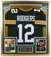 Aaron Rodgers Packers 32x36 Custom Framed Jersey Display with Super Bowl XLV Champions Pin at PristineAuction.com