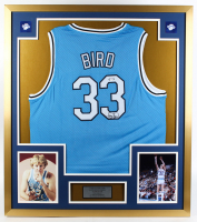 Larry Bird Signed Indiana State Sycamores 32x36 Custom Framed Jersey Display (PSA COA) at PristineAuction.com