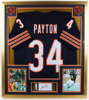 Walter Payton Signed Bears 32x36 Custom Framed Index Card Display with Jersey (PSA Encapsulated) at PristineAuction.com