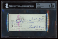 Hal Greer Signed Hand-Written 1973 Personal Bank Check (BGS Encapsulated) at PristineAuction.com
