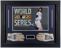 Mookie Betts Signed Dodgers 23.5x29.5 Custom Framed Photo Display with Pair of Game-Used Batting Gloves (PSA Hologram) at PristineAuction.com