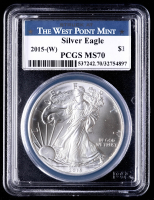 2015(W) American Silver Eagle $1 One Dollar Coin - Struck at West Point Mint Label (PCGS MS70) at PristineAuction.com