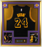 Kobe Bryant 32x36 Custom Framed Jersey Display with 60 Years Lakers Championship Pin at PristineAuction.com