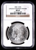 1881-S Morgan Silver Dollar - Lincoln Highway Hoard (NGC MS63) at PristineAuction.com