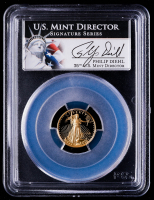 1998-W American Gold Eagle $5 Five Dollar 1/10 oz Gold Coin - Philip Diehl Label (PCGS PR69 Deep Cameo) at PristineAuction.com