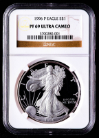 1996-P American Silver Eagle $1 One Dollar Coin (NGC PF69 Ultra Cameo) at PristineAuction.com