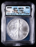 2005 American Silver Eagle $1 One Dollar Coin - First Day of Issue (ICG MS70) at PristineAuction.com