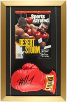 Mike Tyson Signed 15x23 Custom Framed Boxing Glove Display with Full 1991 Sports Illustrated Magazine (PSA COA) at PristineAuction.com