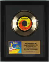 "The Beatles 12.75x15.75 Custom Framed Gold Plated ""Yellow Submarine"" Record Album Award Display at PristineAuction.com"