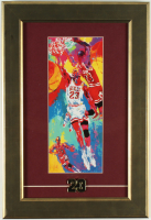 Michael Jordan Bulls 11x16 Custom Framed LeRoy Neiman Print Display with Vintage 23 Pin at PristineAuction.com
