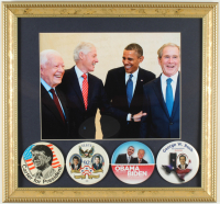 U.S. Presidents 14x15 Custom Framed Photo Display with (4) Vintage Campaign Pins at PristineAuction.com