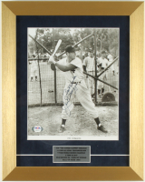 """Joe DiMaggio Signed Yankees 12x15 Custom Framed Photo Display Inscribed """"Best Wishes"""" (PSA LOA) at PristineAuction.com"""