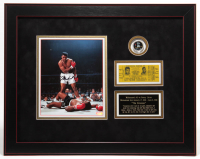 Muhammad Ali Signed 19x24 Custom Framed Photo Display with Colorized Coin & Fight Ticket (Steiner COA) at PristineAuction.com