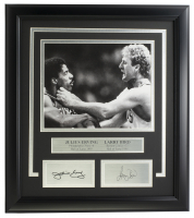 Julius Erving & Larry Bird 14x18 Custom Framed Photo Display at PristineAuction.com