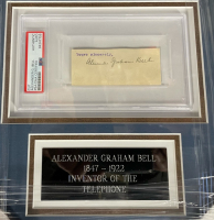 Alexander Graham Bell Signed 12x21 Custom Framed Cut Display (PSA LOA & PSA Encapsulated) at PristineAuction.com