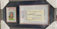 George Weiss & Yogi Berra Signed 11.5x19.5 Custom Framed Card & MLB Player Release Document Display (PSA LOA & PSA Encapsulated) at PristineAuction.com