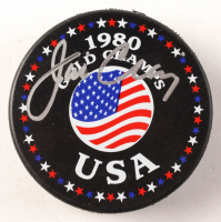 Jim Craig Signed Team USA 1980 Gold Champs Logo Hockey Puck (PSA COA) at PristineAuction.com