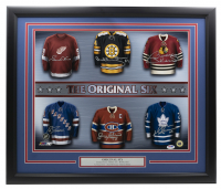 22x27 Custom Framed Photo Display Signed by (6) with Gordie Howe, Bobby Orr, Bobby Hull, Eddie Giacomin, Jean Beliveau, Darryl Sittler (PSA LOA) at PristineAuction.com