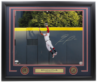 Ronald Acuna Jr. Signed Braves 22x27 Custom Framed Photo Display with (2) Braves Coins (JSA COA) at PristineAuction.com