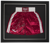 Floyd Mayweather Jr. Signed 32x36 Custom Framed Boxing Trunks Display (Beckett COA) at PristineAuction.com