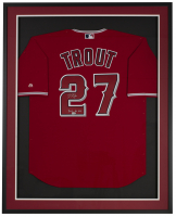 "Mike Trout Signed Angels 32x36 Custom Framed Jersey Display Inscribed ""2012 AL ROY"" (MLB Hologram) at PristineAuction.com"