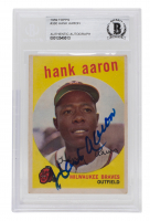 Hank Aaron Signed 1959 Topps #380 (BGS Encapsulated) at PristineAuction.com