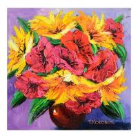 "Yana Korobov Signed ""Summer Symphony"" 20x20 Original Acrylic Painting on Canvas at PristineAuction.com"