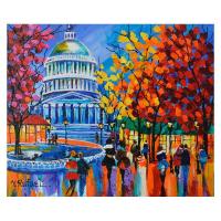 "Yana Rafael Signed ""Capital Promenade"" 20x24 Original Painting on Canvas at PristineAuction.com"