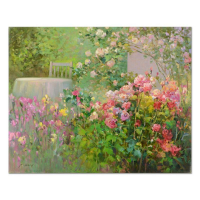 "Ming Feng Signed ""Corner of the Garden"" 30x24 Original Oil Painting on Canvas at PristineAuction.com"