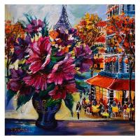 "Yana Rafael Signed ""Parisian Delights"" 24x24 Original Painting on Canvas at PristineAuction.com"